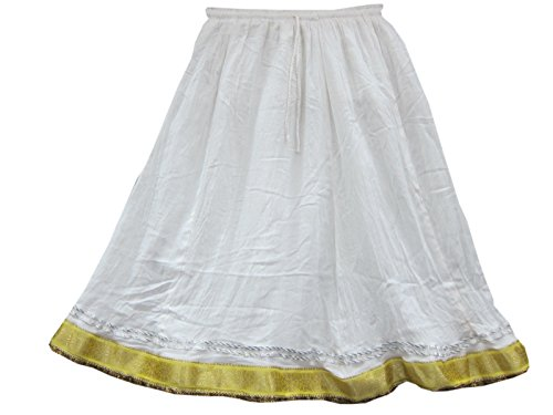 Bollywood Fashion Skirt- Golden Lace Sari Border White Skirt Casual Womans