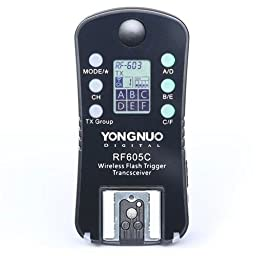 Yongnuo RF605 16-Channel Wireless Flash Trigger for Canon Cameras, 2.4GHz Frequency, 1/320sec Sync Speed