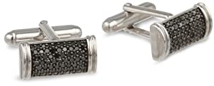 Men's Sterling Silver and Black Diamond Cuff Links (1.00 cttw)