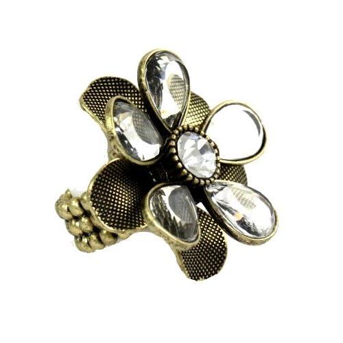 Designer Alex Carol Antique Gold Crystal Vintage Look Flower Ring with Stretch Band