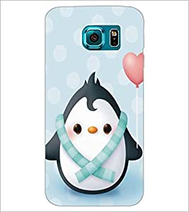 PrintDhaba Cute Penguin D-5297 Back Case Cover for SAMSUNG GALAXY S6 EDGE (Multi-Coloured)