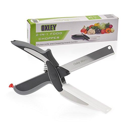 Oxley 2-in-1 tritatutto per alimenti tritaverdure CLEVER Cutter Coltello da cucina e Tagliere combinato. Affettatrice per Verdure formaggio coltello coltello chef Mini tritatutto Forbici da cucina. Ideale per aggiungere alla tua cucina gadget