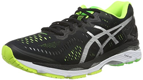 Asics Gel-Kayano 23, Scarpe da Corsa Uomo, Multicolore (Black/Silver/Safety Yellow), 42 EU