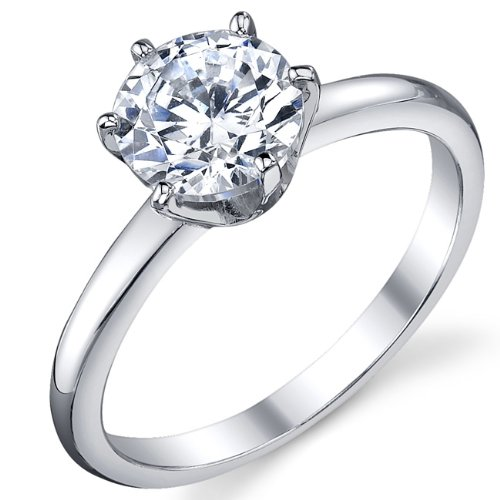 1.25 Carat Round Brilliant Cubic Zirconia CZ Sterling Silver 925 Wedding Engagement Ring Size 6