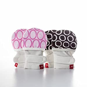 guavamitts - smart, stay on baby mittens -2 pack (ellipse (pink)/cirque (chocolate))