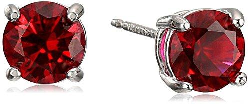 Rhodium Plated Sterling Silver Genuine Ruby 6mm Round July Birthstone Stud Earrings