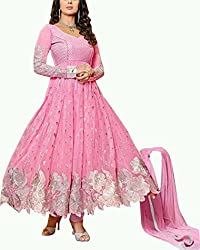 Aaradhya Women's Cotton Anarkali Unstitched Dress Material - AA_ART_001_ANA_PINK_Pink