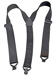 No-buzz Airport Friendly Black Suspenders Y-back Style with Patented Gripper Clasps