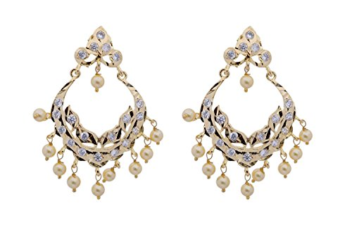 Hyderabadi Abhushan CZ stone earings with peral drop (multicolor)