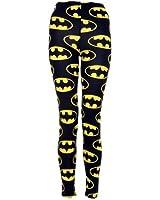 (womens full length batman leggings)(mtc) frauen batman Gamaschen (40/42 (uk 12/14), (black/yellow) schwarz/gelb)