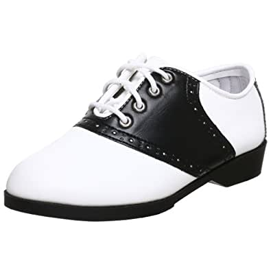 Children's 1 Inch Heel Saddle Shoe (Black/White;Medium)