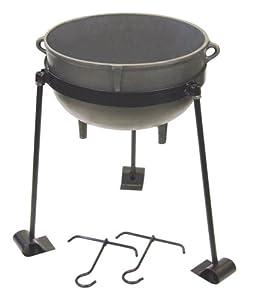 Bayou Classic CI-7410, 10-Gal. Cast Iron Jambalaya Pot, Tripod Stand, and 2 Lift Hooks