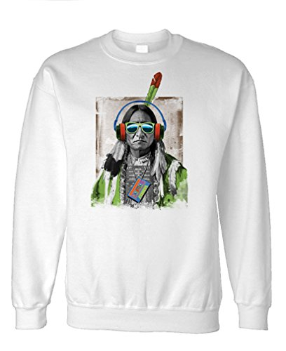 Native Headphones American Indian Hippy - Fleece Sweatshirt, S, White