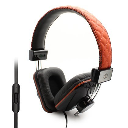 Classic Channel Diamond Style Over Head Stereo Hands Free Headset With Microphone ,Fashionable, Comfortable Ear Cushion, 3.5Mm Plug, Anti-Tangle Flat Wire - Orange