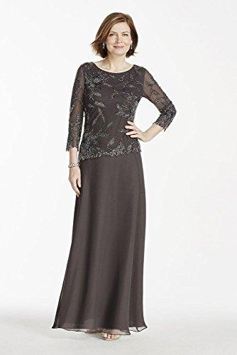 516270956e1 Long Sleeve Beaded Mock Two Piece Mother of Bride Groom Dress Style 4398SE