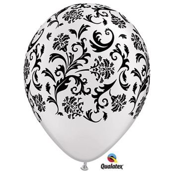 Damask White & Black Latex Balloons Qualatex 25 Per Pack