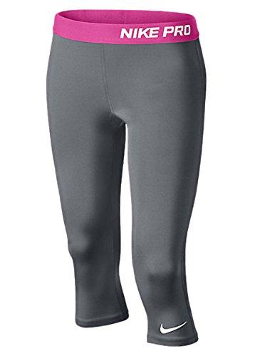 Nike Pro Girls Tight Fit Training Capri Pants, Cool Gray, Large, 616470 065