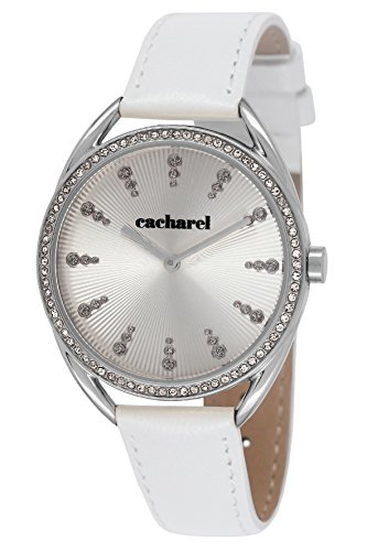 Cacharel-FB CLD 050S/Women's Quartz Analogue Watch-White Leather Strap Silver Dial