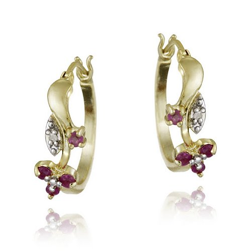 18k Gold over Sterling Silver Ruby & Diamond Accent Flower Hoop Earrings