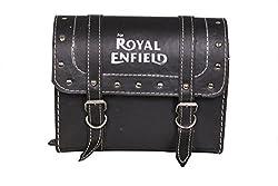 HMRA Power BBRELLSB High Quality Black Big Size Rectangular Leatherette Saddle Bag With Royal Enfield Logo