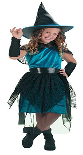 Girls Witch Turqus Midnight Kids Child Fancy Dress Party Halloween Costume