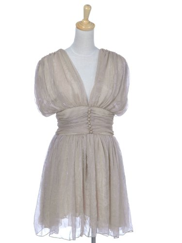 Anna-Kaci S/M Fit Beige Chiffon Layered Dreamy V-Cut Pouf Buttoned Party Dress