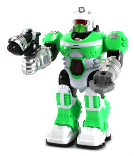 Power Warrior Android Robot Toy Figure w/ Lights, Sounds, Realistic Walking Function (Colors May Vary)