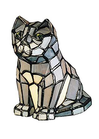 "Meyda Home Indoor Decorative Lighting Accessories 7""H Cat Tiffany Glass Accent Lamp 11323"