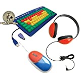 Califone KIDSPACK Kids Computer Peripheral Package Includes Kids Keyboard (KB1) Headphone (2800-RD) And Mouse...