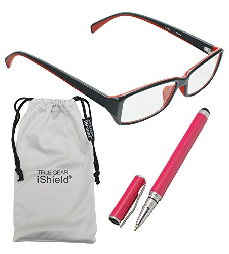 True Gear iShield Anti Reflective Glasses - Double Injection Modern Style (Clear) - Black with Red