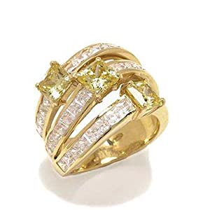 Gioie Women's Ring in White 18k Gold with White Cubic Zirconia, Size 10.5, 24 Grams