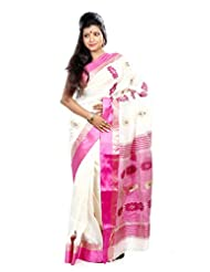 B3Fashion Handloom Traditional Garad Silk Saree In White With Pink Plain Border And Zari Floral Weaved Border...
