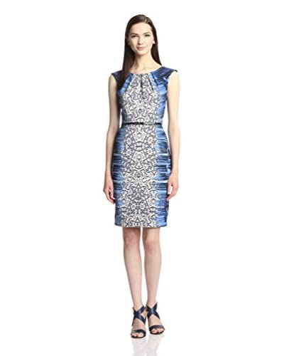 London Times Women's Print Sheath Dress with Belt