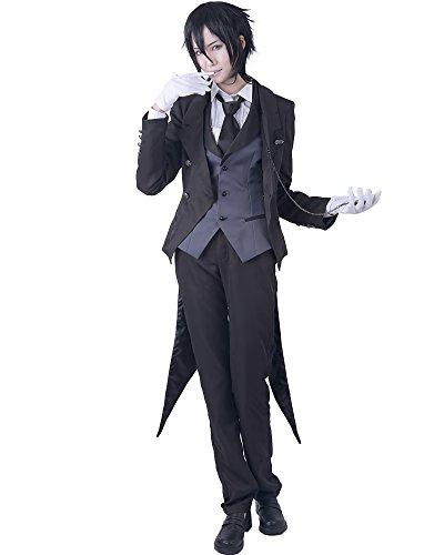 [Miccostumes Women's Black Butler Sebastian Michaelis Cosplay Costume (Women L)] (Womens Tailcoat Costume)