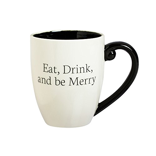 Cypress Home Ceramic Eat, Drink, Be Merry Black Ink Cup O'Joe, 18 ounces (Cup O Joe compare prices)