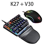Leoie 2.4G Wired one-Handed Keyboard,27-Key Mini Gaming Keypad with Optical Trackball Wireless Mouse for LOL/Fortnite Game HTPC Multimedia Smart TV (Tamaño: Keyboard + mouse)