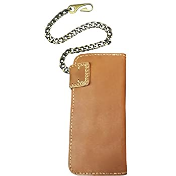 D'SHARK Men's Biker Genuine Leather Billfold Wallet with Chain (Brown)