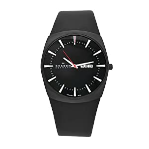 Skagen Men's 696XLTBLB Denmark Black Leather Black Dial Watch
