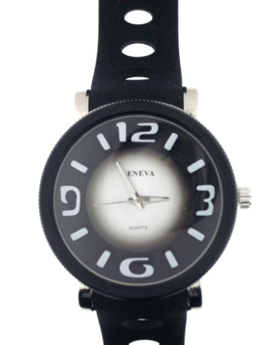 Black Silicone Rubber Gel Watch Oval Graduated Holes In Band Large Face. Numbers Are 3 Dimensional
