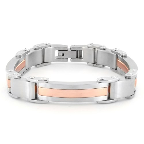 Stainless Steel Gold Plated Brushed Finished Men's Bracelet