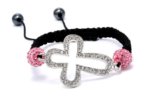 Authentic Pink Sapphire Color Crystals Cross Shape Adjustable Bracelet, Now At Our Lowest Price Ever but Only for a Limited Time!
