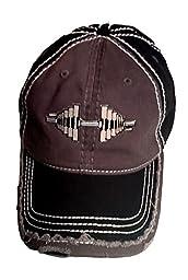 Distressed Black/Brown Barbell Cap