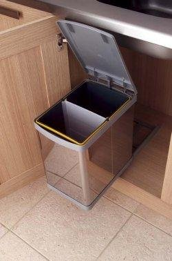 Kitchen Pull-out waste bin, 20L, stainless steel with grey lid