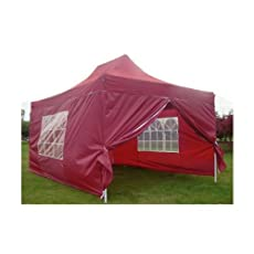 NEW WATERPROOF 3M X 4.5M POP UP TENT GAZEBO MARQUEE PARTY TENT CANOPY+ 4 SIDES (RED)