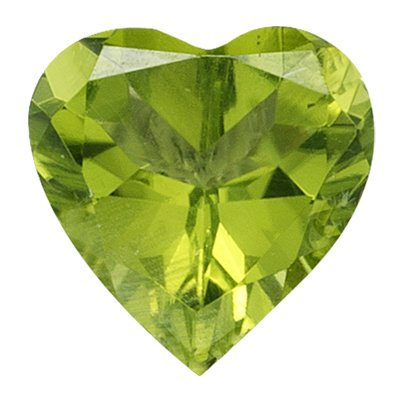 0.84 Cts of 6 mm AA Heart Peridot (1 pc) Loose