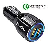 Car Charger QuickCharge 3.0 35W Adapter Usb Fast Charge, Port 1 QC 3.0 Port 2 Smart Power 3.1A Samsung, Android, Galaxy s9, ipad, Surface Pro, Lg, Apple (Color: Black)