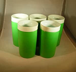 Set of 5 Vintage Olympian Therm-o-ware Insulated Tumblers Bright Green 12 Ounces