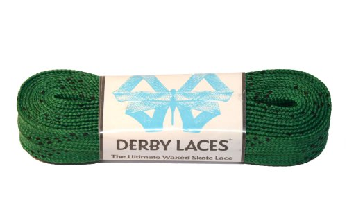 Kelly Green 96 Inch Waxed Skate Lace - Derby Laces for Roller Derby, Hockey and Ice Skates, and Boots