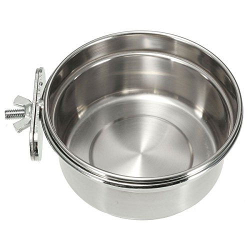 Yosoo 3 Size Stainless Steel Food Water Bowl For Crates Cages Coop Dog Cat Parrot Rabbit Bird Pet (L=14*6cm)