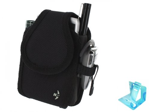 Nite-Ize Belt Holster Rugged Cargo Swivel Clip Carrying Phone Case Pouch Black - Wide for T-Mobile AT&T Blackberry Bold 9000 9700 9780 9900 4G Touch - Curve 8520 8900 9360 - Torch 9800 9810 9860 (Comes with Universal Phone Stand)
